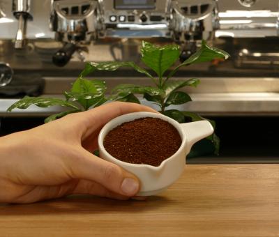 Kaffee fuer die Filterzubereitung in der Espressokanne mahlen